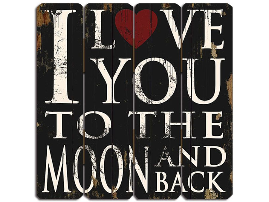 I love you to the moon and black rustic timber sign from