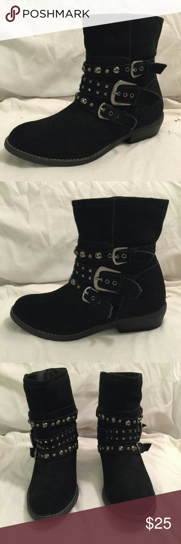 White Mountain Strappy Suede Ankle Boot Ankle boots never worn but a bit dusty and dingy from sitting in my closet. Right shoe has a tiny white spot other than that shoes look great. Shaft 6.5 in. Heel height 1.5. Open to offers⭐ Please feel free to ask questions😊 White Mountain Shoes Ankle Boots & Booties