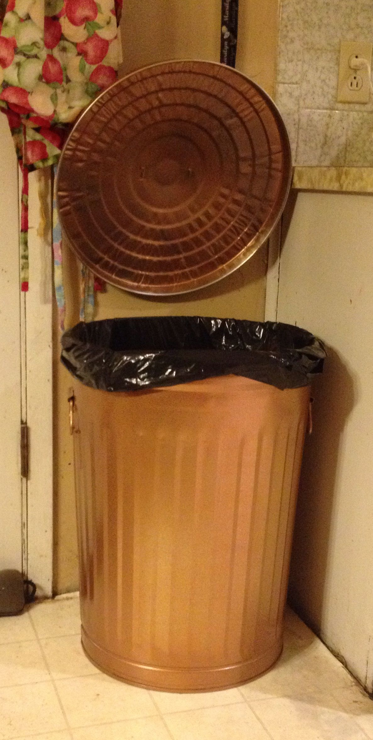 Kitchen Trash Can. Lid Hanging On Coat Hook. Painted Copper To Match Decor.