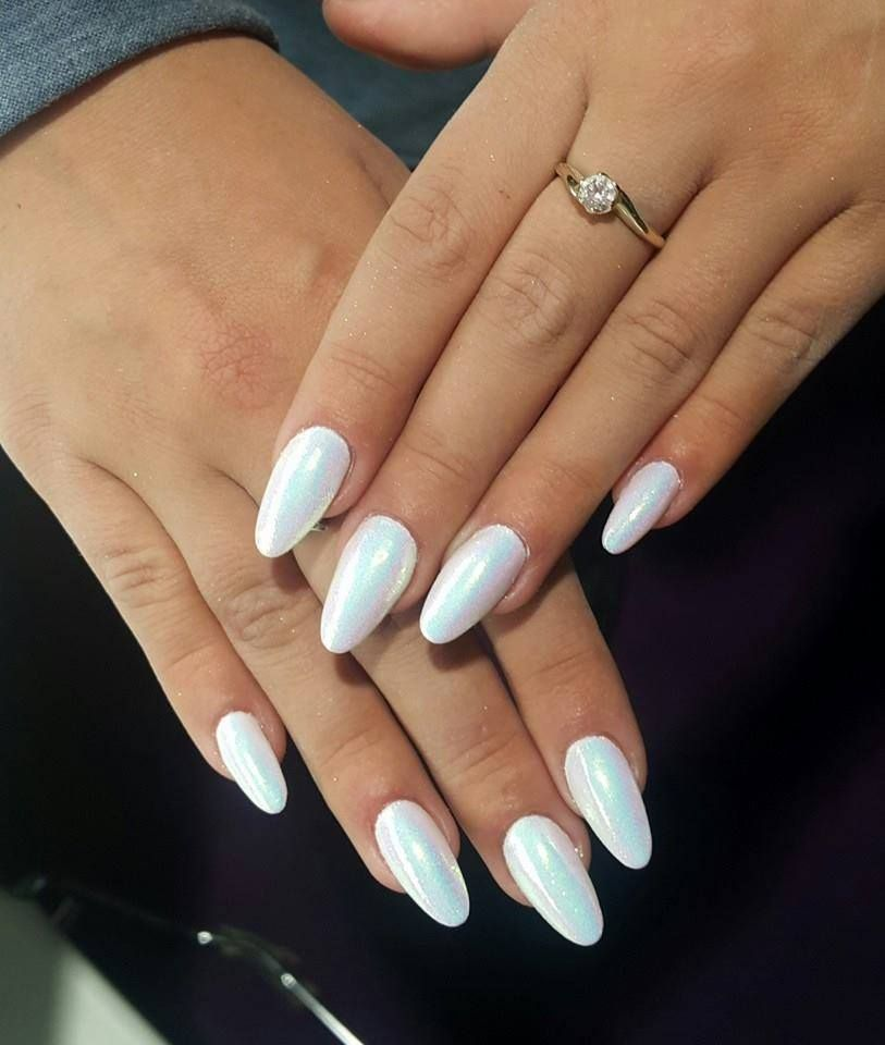 Mermaid Effect Nails #nailart #white | nails.! | Pinterest | Nail ...