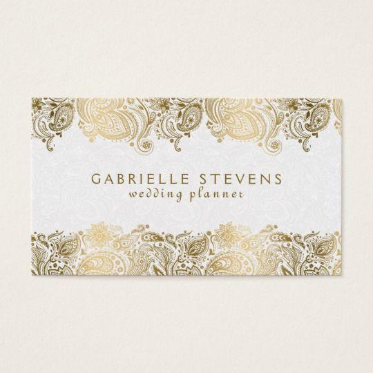 Elegant Gold Paisley On White Wedding Planner Business Card Zazzle Com In 2021 Wedding Planner Business Card Wedding Planner Business Wedding Planner Card