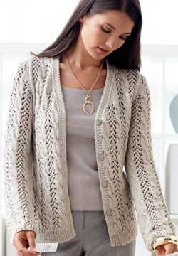 f245f0d20 Beautiful lace and cable cardigan will become the go-to staple of your  wardrobe. Shown in Patons Silk Bamboo - free pattern