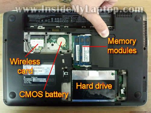 Inside my laptop - Wi-Fi card memory hard drive CMOS battery