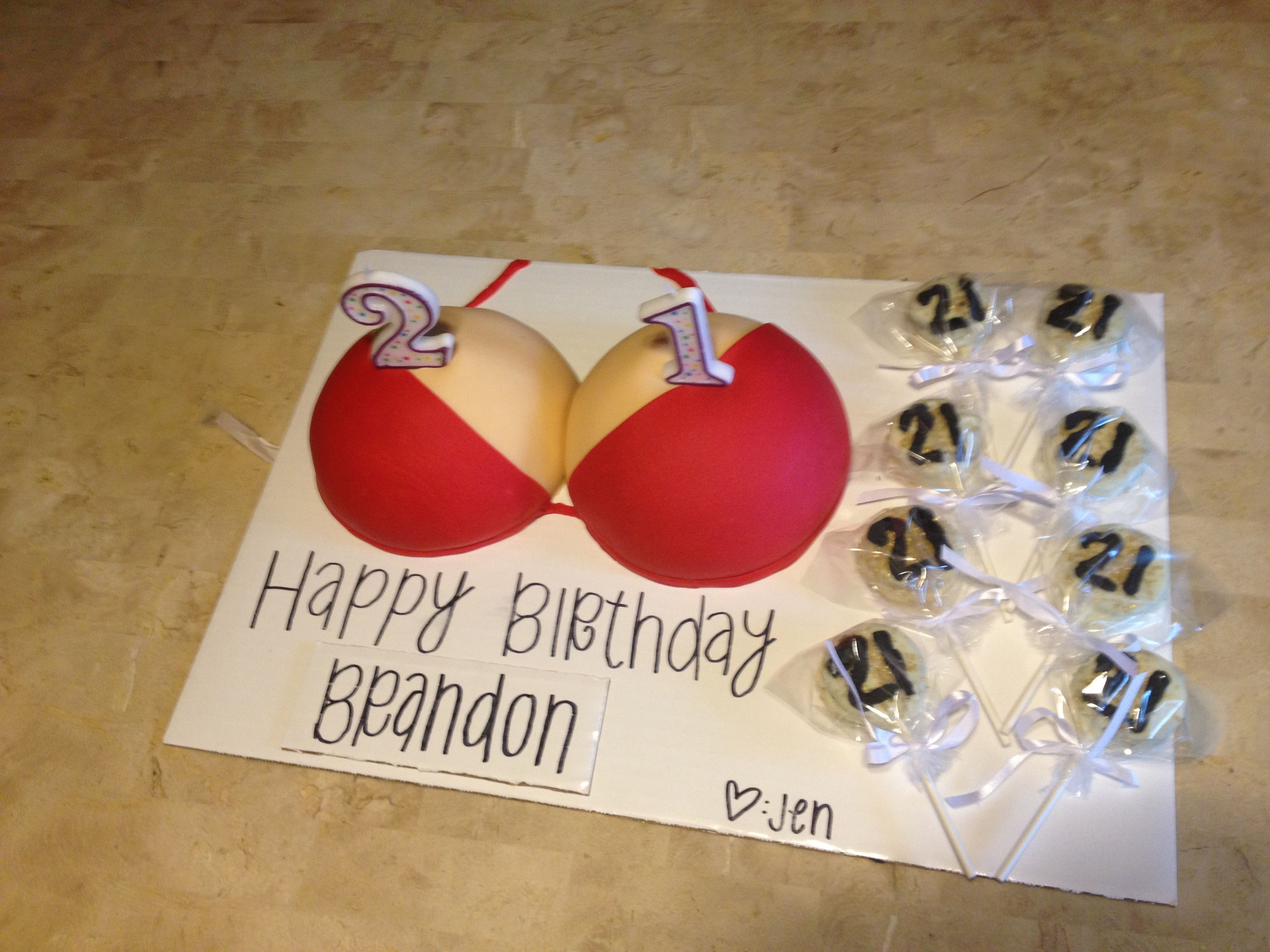 Birthday Cakes Gifts Images ~ Guys st birthday idea boobie cake and chocolate covered oreos
