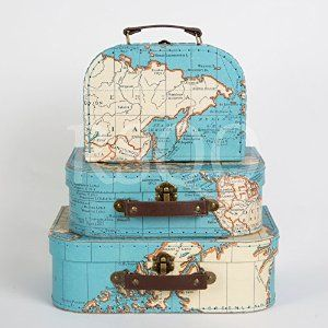 Sass belle set of 3 world map suitcases storage boxes amazon sass belle set of 3 world map suitcases storage boxes amazon gumiabroncs Gallery