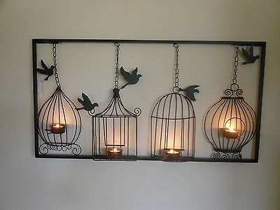 Birdcage tea light wall art, metal, wall hanging, candle holder ...