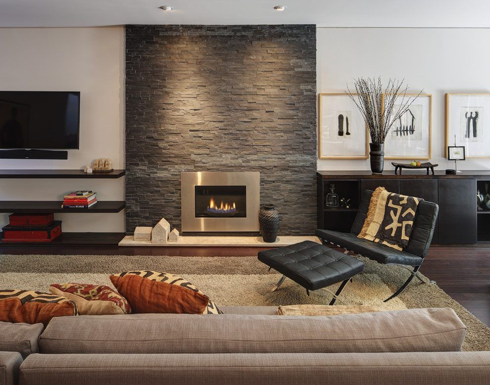 Floating Shelves Next To Fireplace Living Room Contemporary With