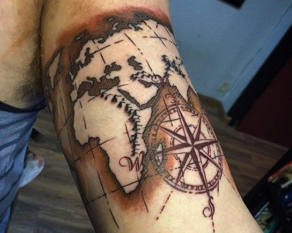 26 world map tattoos with releasing and wandering meanings gumiabroncs Image collections