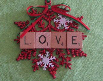 Joy glitter snowflake scrabble tile Christmas ornament  Scrabble