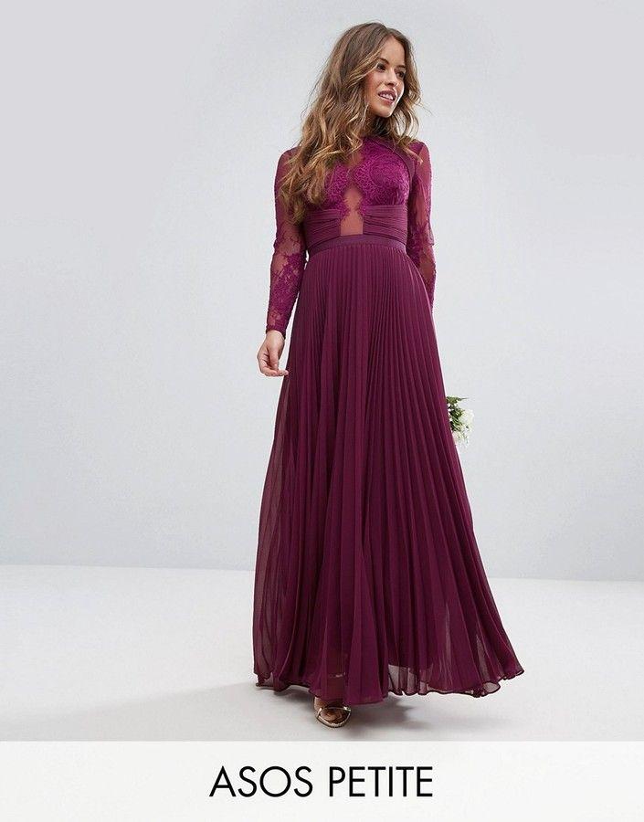 Asos Petite Wedding Pretty Lace Pleated Maxi Dress ...