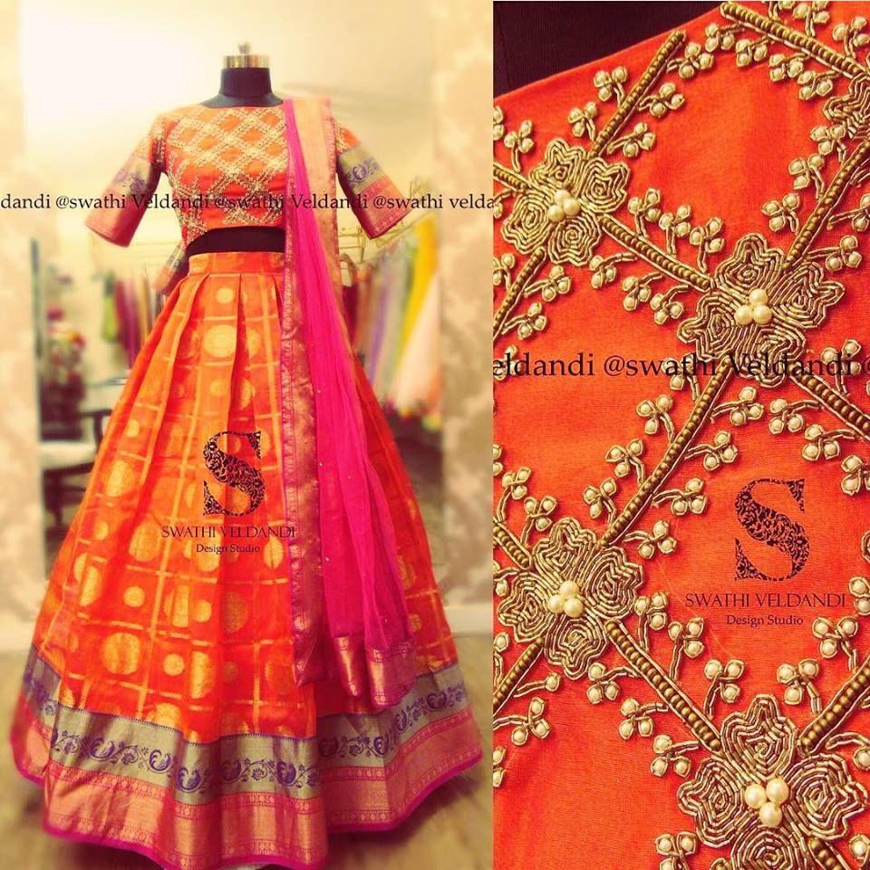 be748732f8b2a3 Swathi Veldandi Design Studio. Email   +918179668098. Stunning orange color kanchi  pattu lehenga and ...