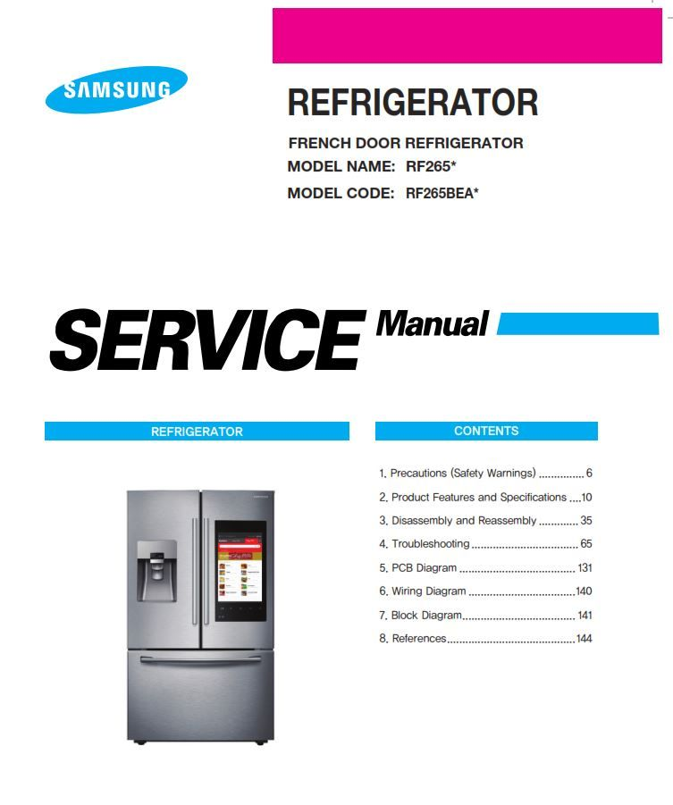 Samsung RF265BEAESG RF265BEAESR Service Manual And Repair