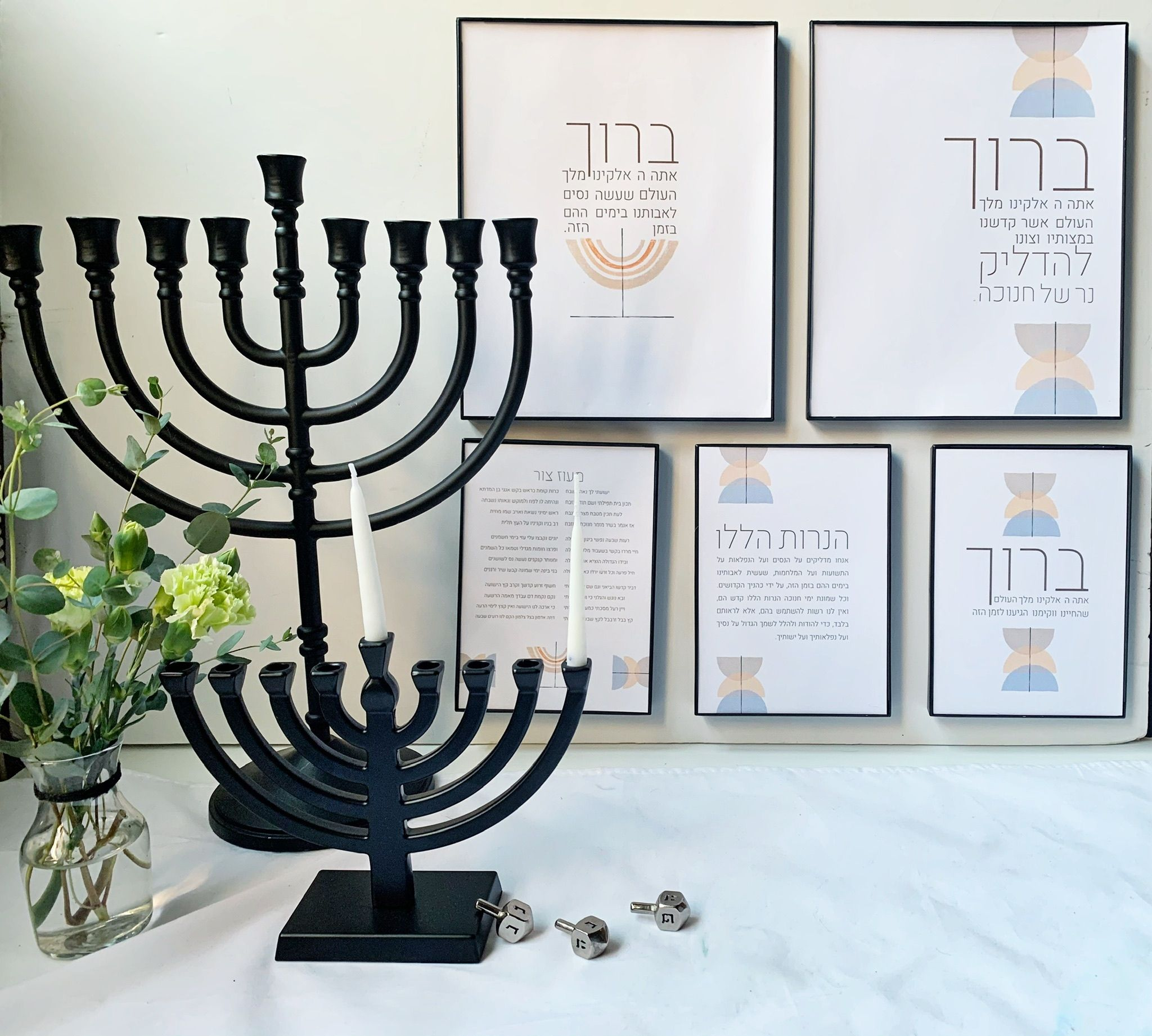 Chanukah Blessings Printable Wall Art Hanukkah Wall Decor Etsy Wall Printables Chanukah Decor Hanukkah