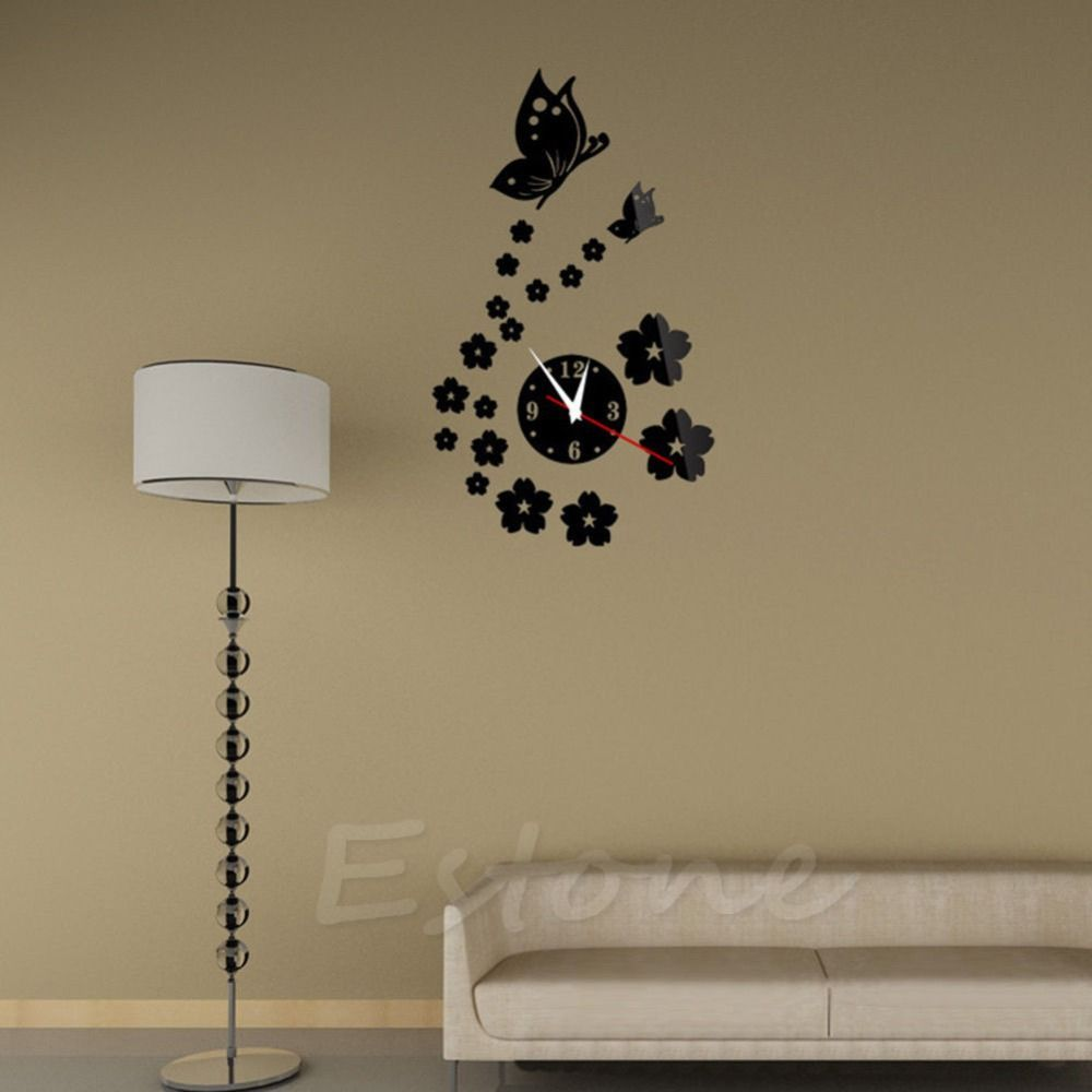 Fashion 3D Acrylic Mirror Style Butterfly Wall Clock Sticker DIY Modern  Design #Affiliate Design