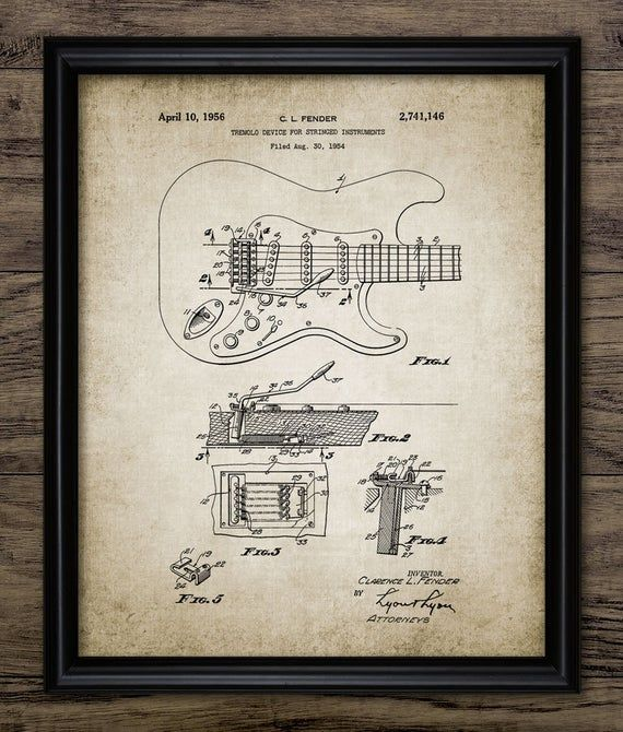 Fender Guitar Wall Art, Electric Guitar Tremolo Device Patent Print, 1956 Electric Fender Guitar Design, Music Room #863 INSTANT DOWNLOAD
