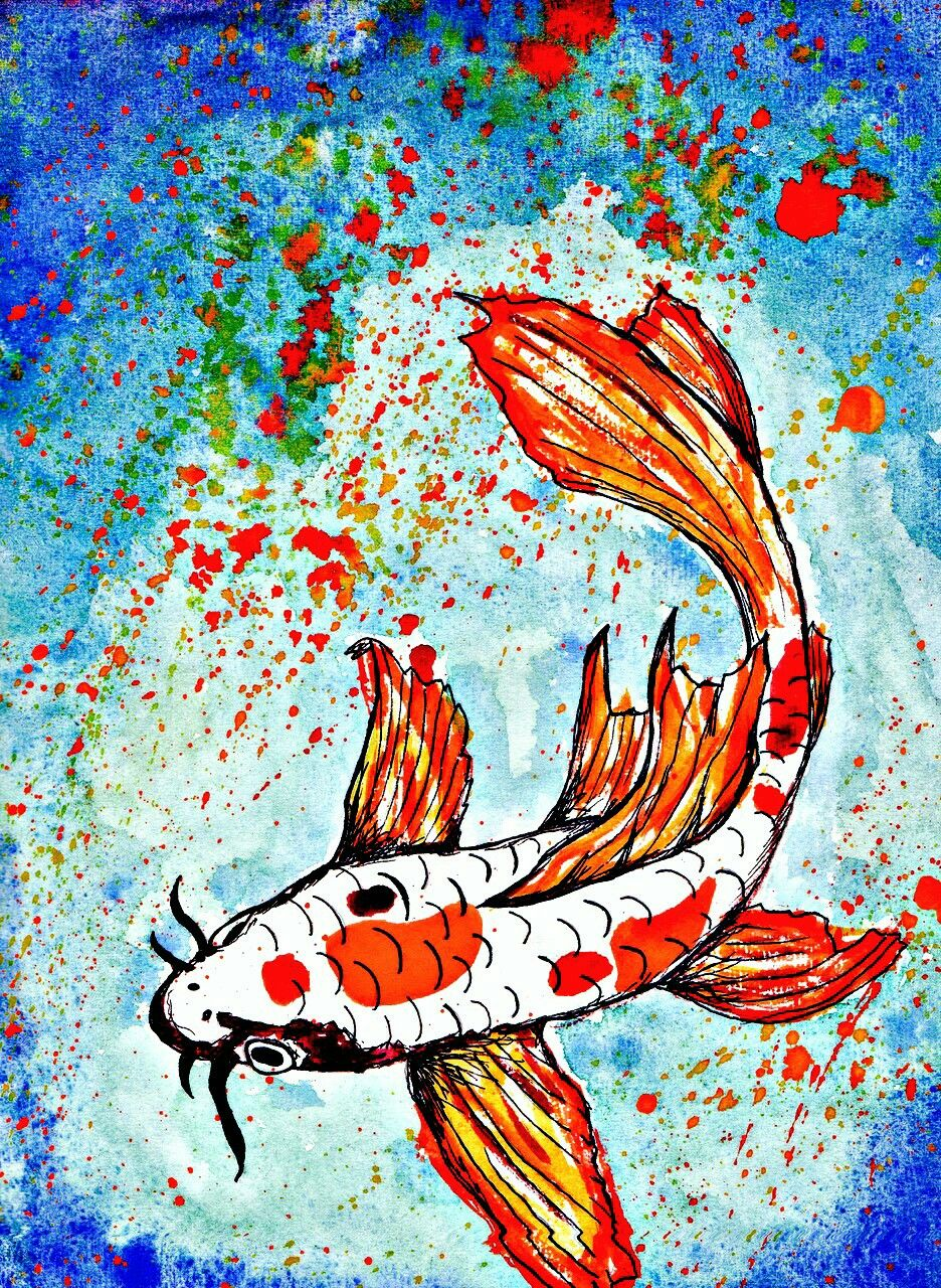 Fish in Water Painting, Chinese painting, Art