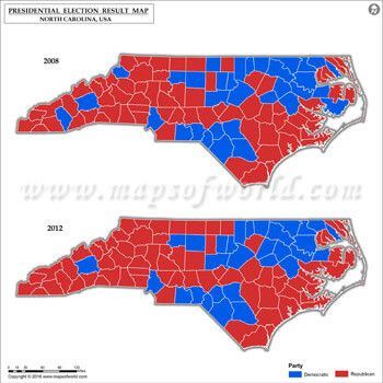 North Carolina Election Results Map Vs US Presidential - Map of us election results