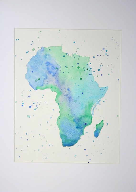 Watercolor Painting Of Africa Can Be Custom Designed To Any Place