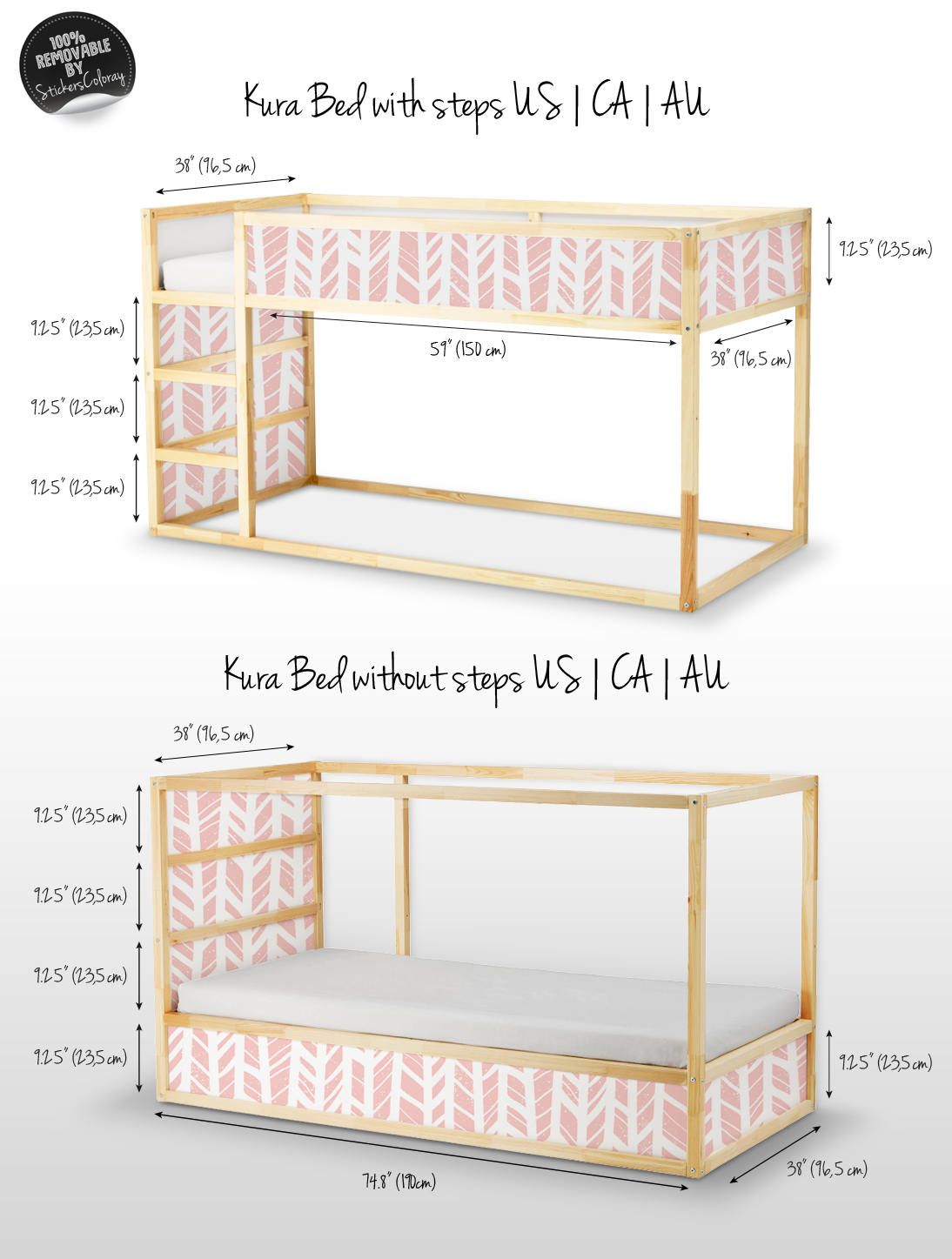 Decals For Kura Bed Ikea Herringbone Pattern Sticker Set Pack Of