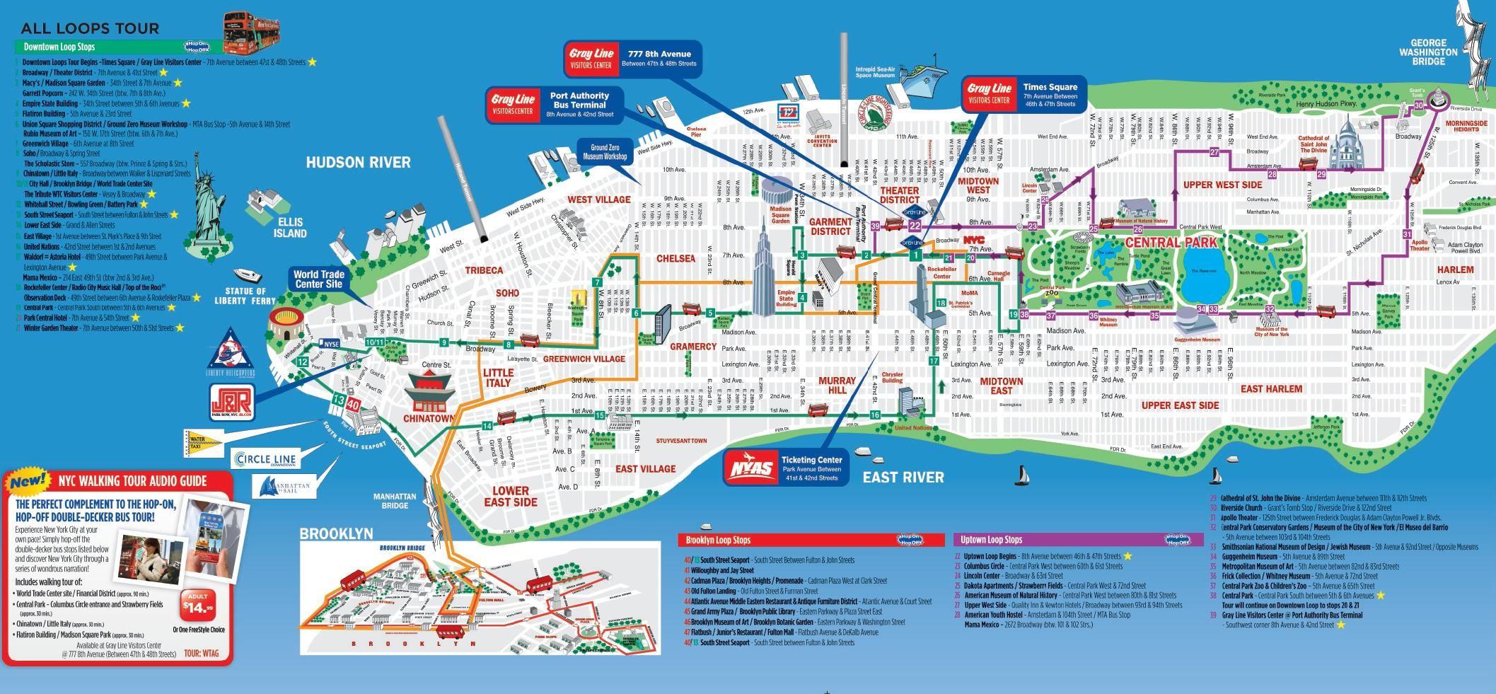 tourist map of new york city printable Click Here To View Grayline S All Loops Map Of New York Tourist
