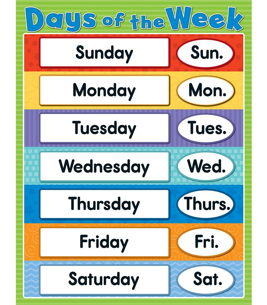 30+ Days Of The Week In English Clipart