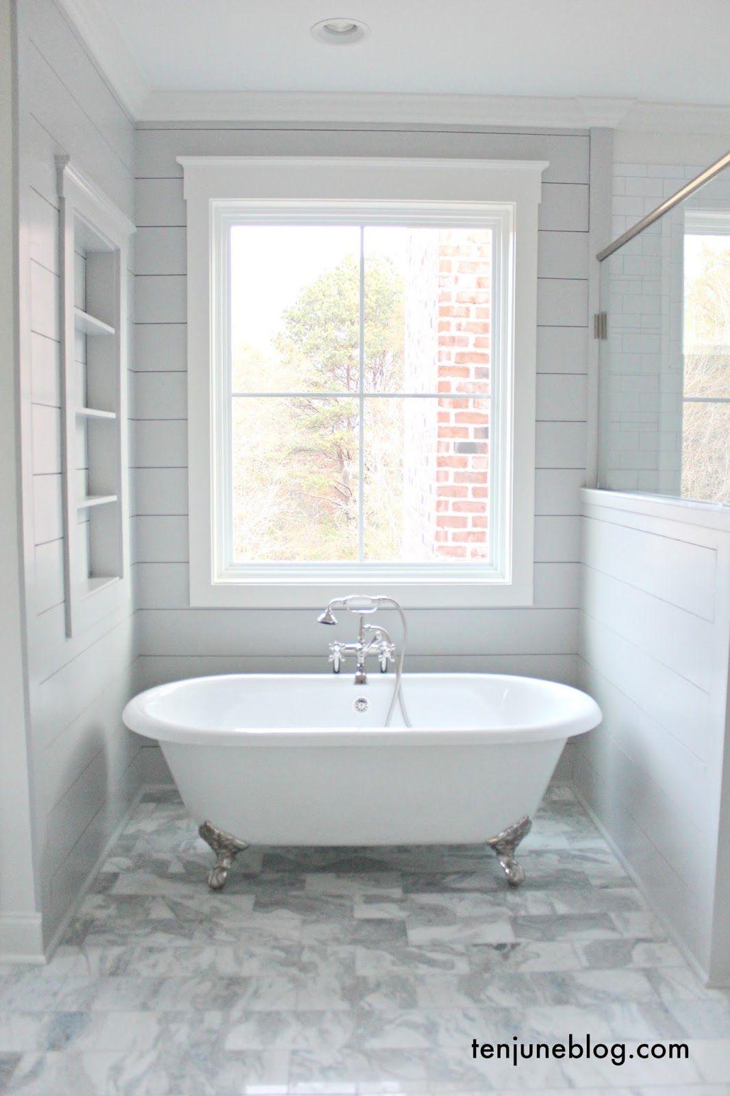 Farmhouse A Tour Of The Master Bathroom Shiplap Passive Sw 7064 Trim Alabaster Sw