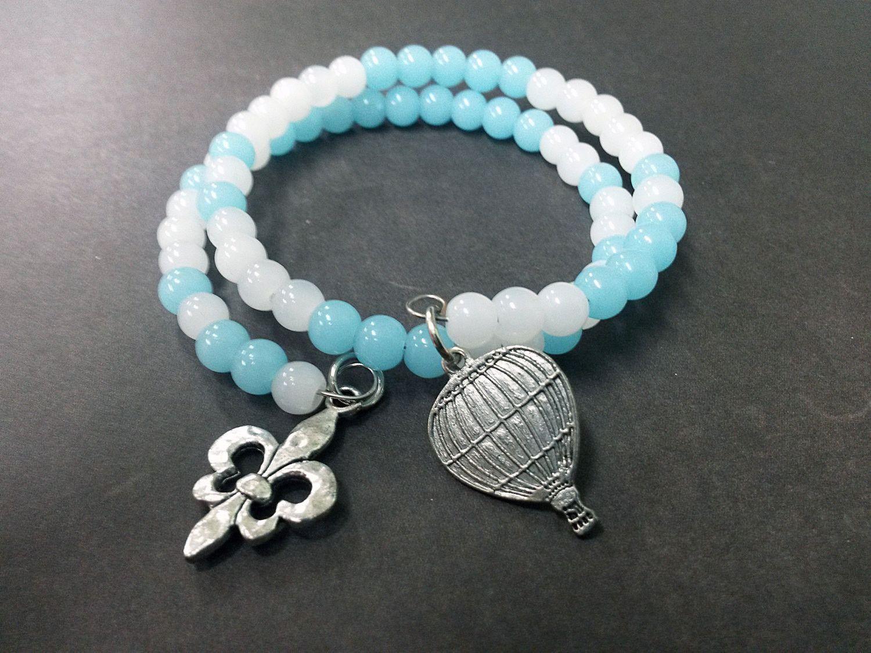 Blue White Hot Air Balloon Fleur De Lis Wrap Bracelet Charm Glass ...