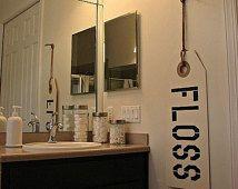Floss Sign Bathroom Sign Bathroom Art Bathroom Decor Dental Art Dental Decor Dentist Sign Brush Your Teeth Kids Bathroom Bathroom Rules