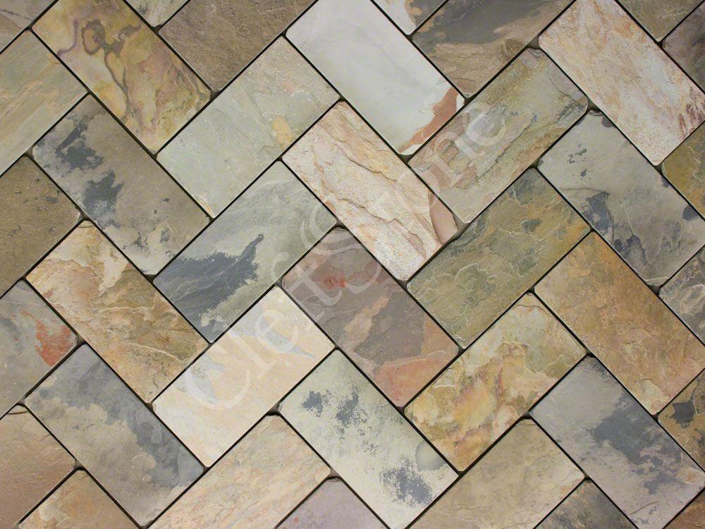 Cashmere Gold Slate Tumbled Herringbone Tile The Cleftstone Works Love This