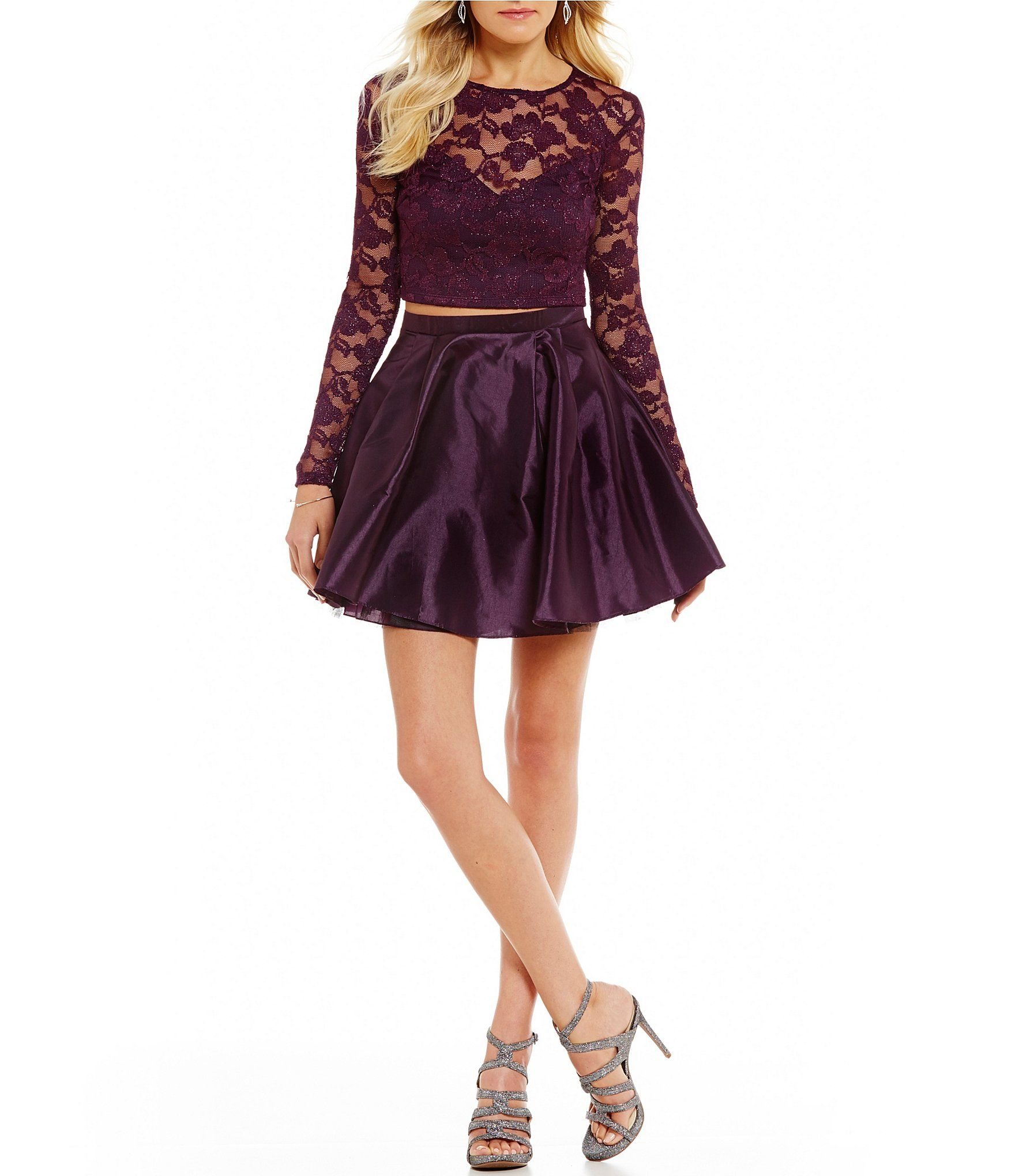 a693f3efdd5 Shop for B. Darlin Long Sleeve Glitter Lace Two-Piece Dress at Dillards.com.  Visit Dillards.com to find clothing