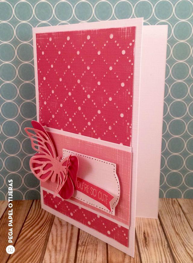 Pink butterfly card using Sizzix Big Shot Starter kit