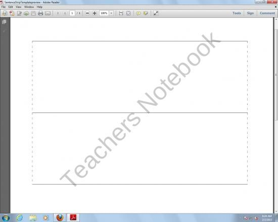 picture regarding Printable Sentence Strips known as No cost Sentence Strip Template (3 Free of charge PreK-2nd Quality