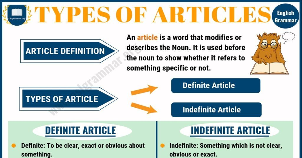 Types of Articles: Definite Article   Ingles