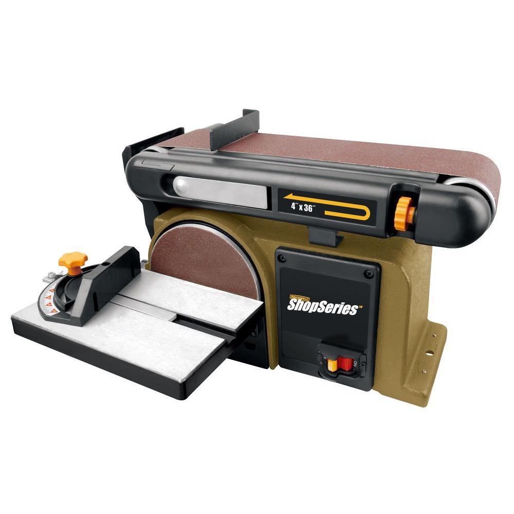 Rockwell 4 3 Amp 6 In Belt Disk Sander 4 In X 36 In Rk7866 At The Home Depot Belt Sander Bench Sander Belt