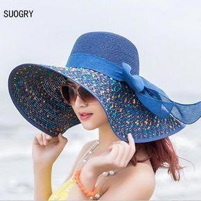 Encontrar Más Sombreros de Sun Información acerca de 1 unids Playa de las  mujeres sombreros gorras 2017 de moda de verano la gasa plegable Floppy  Sombreros ... 47aa29965f5