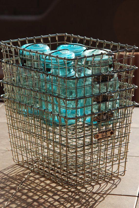 Vintage Wire Locker Basket   Kaspar Wire Works   Shiner, Texas.   LOVE