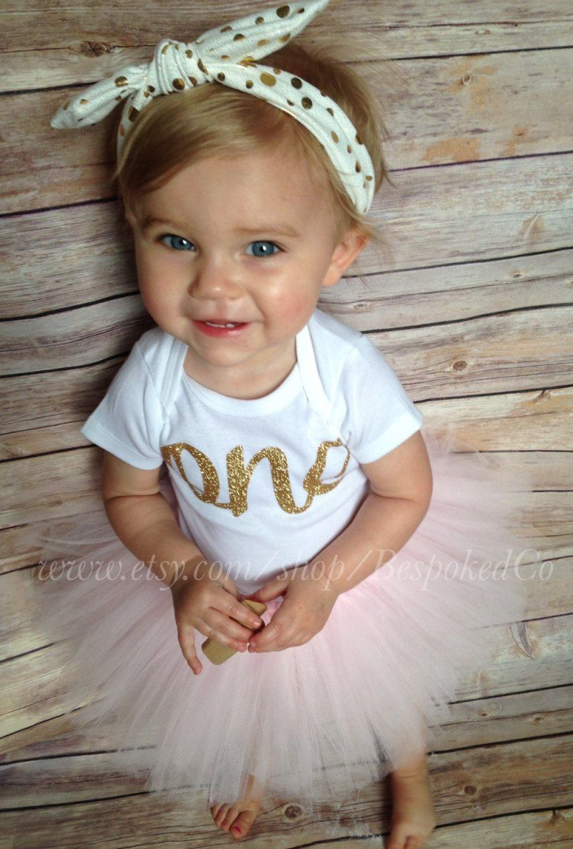 Baby Girls First Birthday Outfit with Knotted Headband | Gold One 1st Birthday Outfits | Peanut and Tot