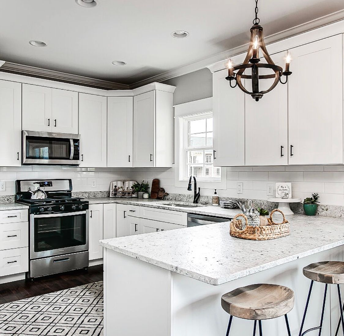 the perfect modern farmhouse kitchen complete with white cabinetry black hardware and on farmhouse kitchen black and white id=27719