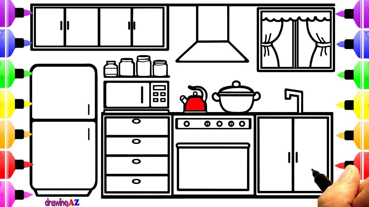 How To Draw Kitchen For Kids And Kitchen Coloring Book For Girls Coloring Books Kitchen Cartoon Cartoon Drawings