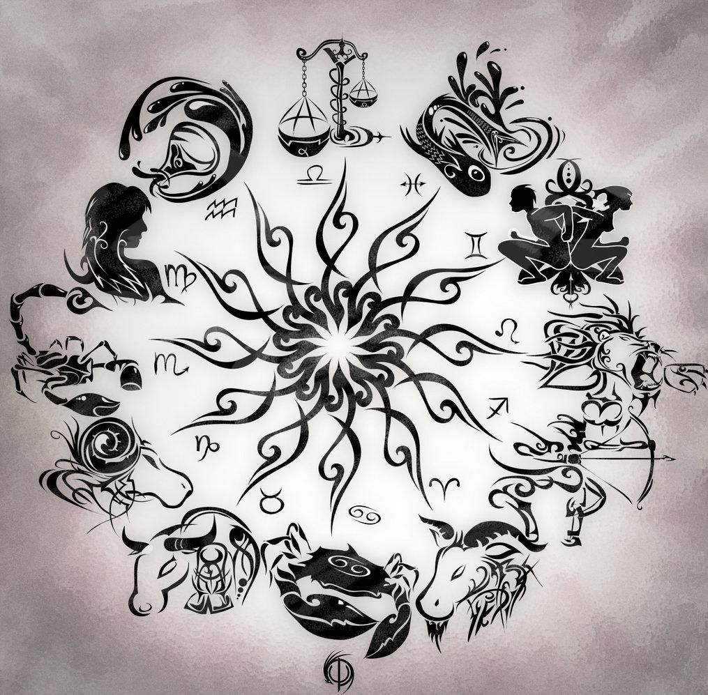 Zodiac Tattoos And Designs: Zodiac+Wheel+With+Sign+Aries+Tattoo+Design+Kamistad