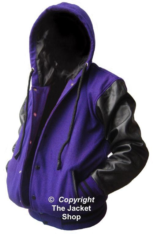 Details about Purple / Black Letterman Varsity Baseball Hoody ...