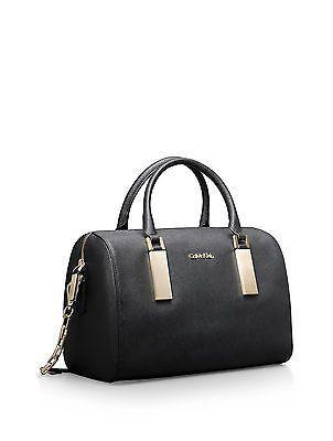 Calvin Klein Womens Scarlett Sleek Barrel Satchel Shoulder Black Bag Handbag