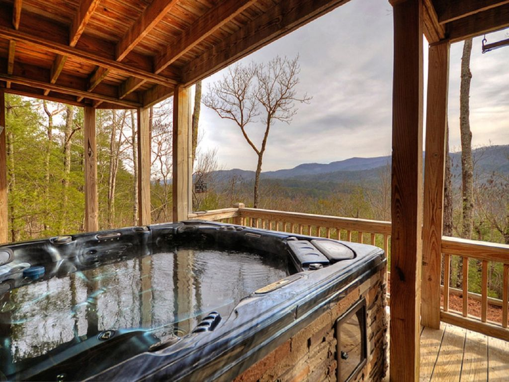 Top of the mountain with fantastic views and hot tub