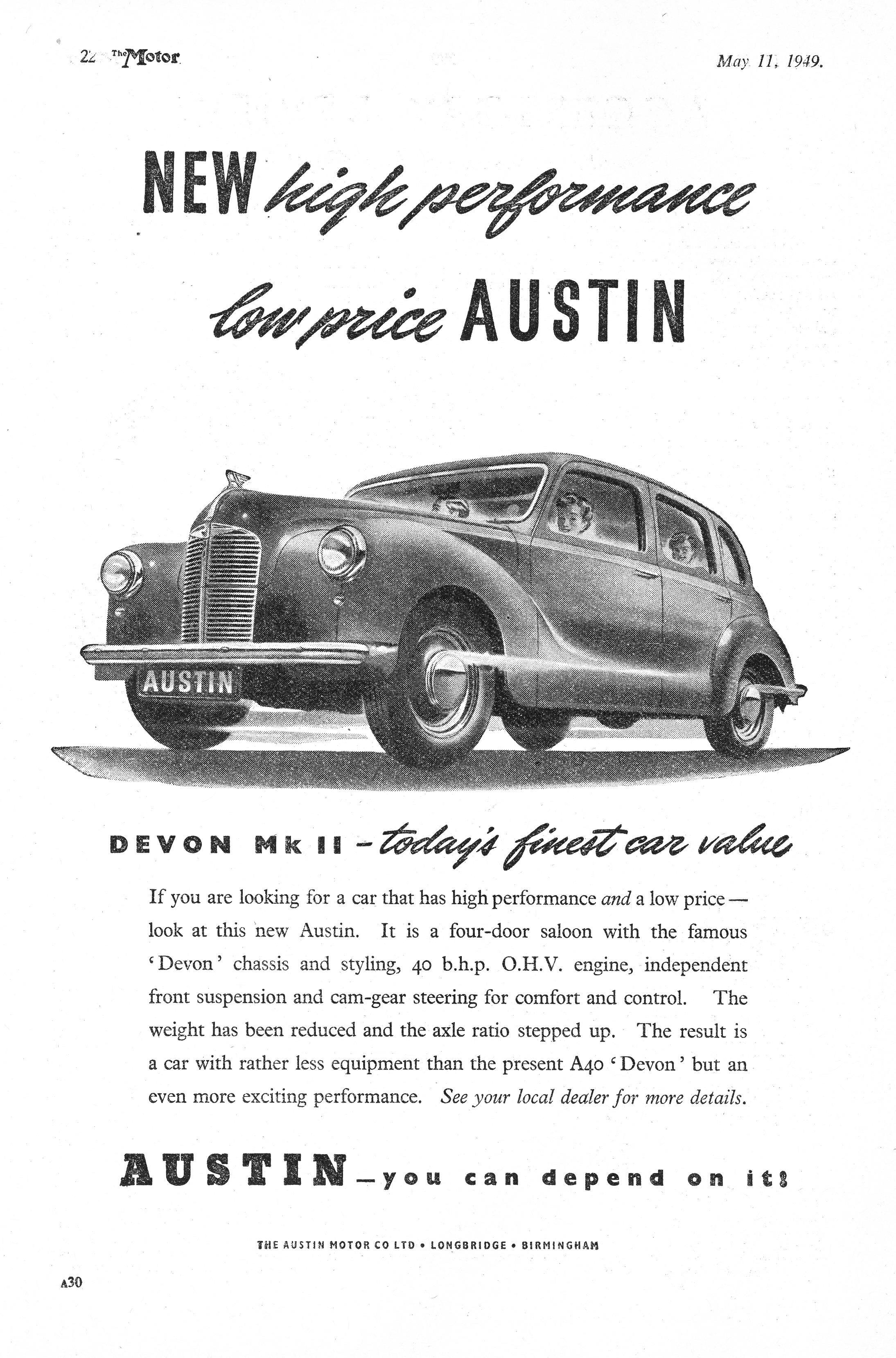 austin car autocar advert 1949