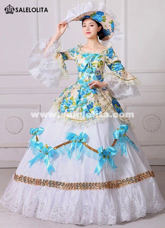 f113a1711328 New Floral Printed Marie Antoinette Masquerade Dresses Renaissance Southern  Belle Ball Gowns Theatrical Clothing