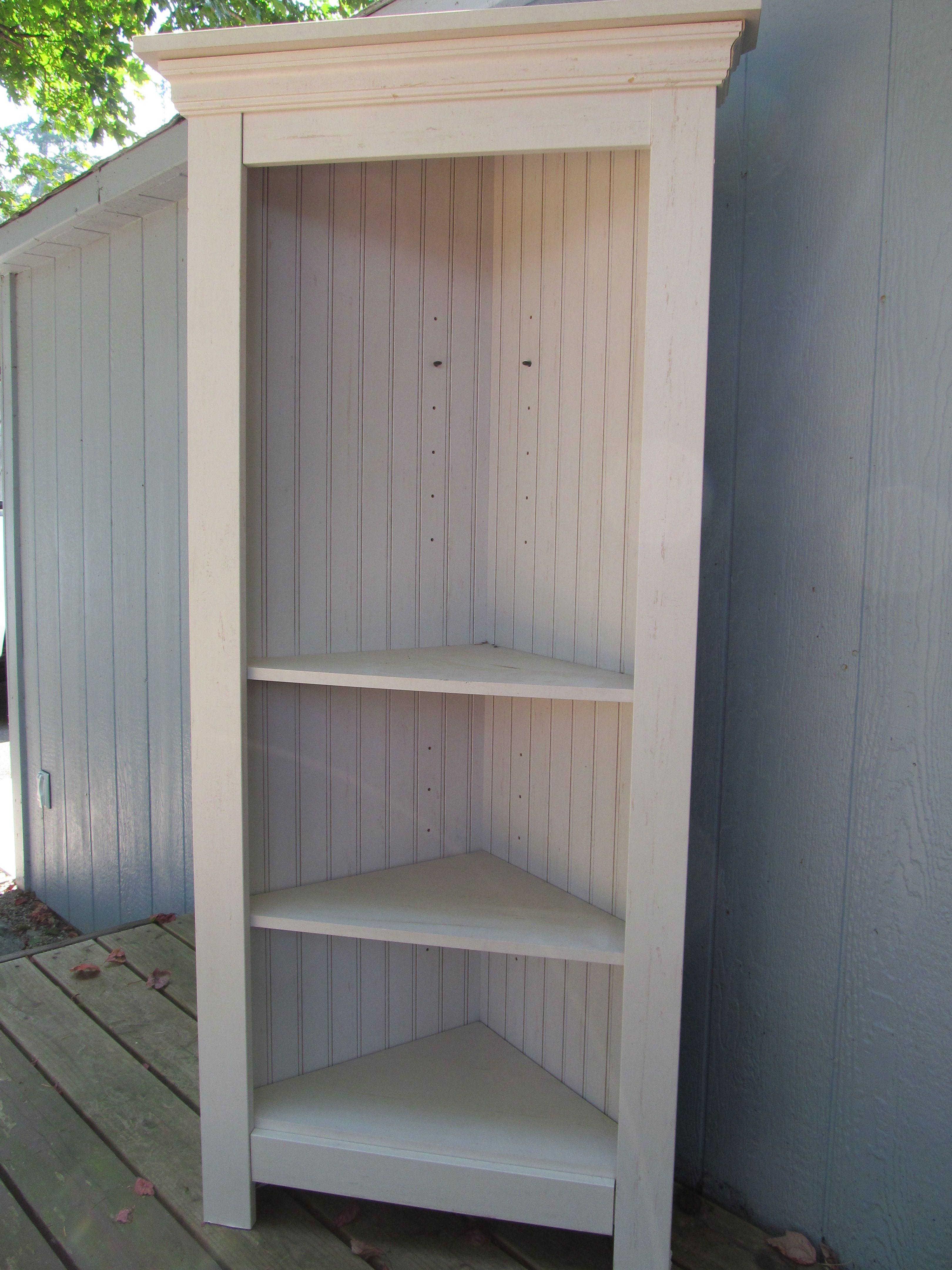 Tall Beadboard Corner Shelves