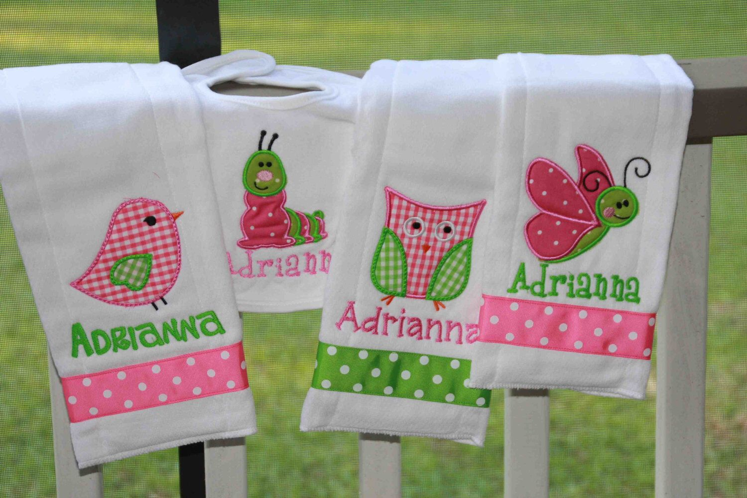 Personalized baby girl set 2 bibs and 2 burp clothes monogrammed personalized baby girl set 2 bibs and 2 burp clothes monogrammed shower gift by sixisenough on negle Gallery