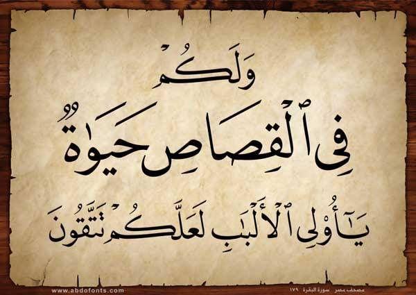 و ل ك م ف ي ال ق ص اص ح ي اة ي ا أ ول ي ال أ ل ب اب ل ع ل ك م ت ت ق ون البقرة 179 Arabic Calligraphy Quran Verses Calligraphy