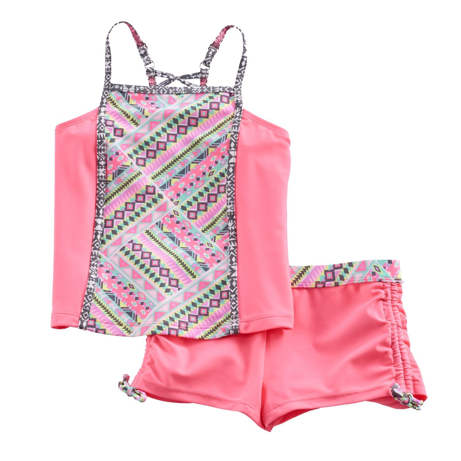 d7685df8b2 Girls 7-16 Free Country Tankini Top   Cinched Shorts Swimsuit Set ...