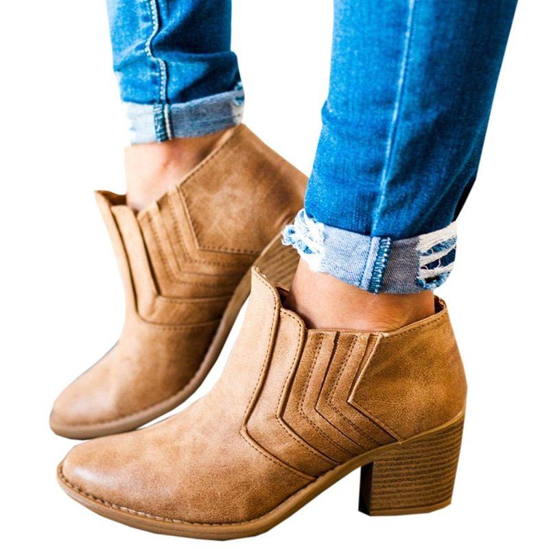 a6aaedef269 Women ankle boots 2018 autumn square heels 4 cm women shoes fashion ...